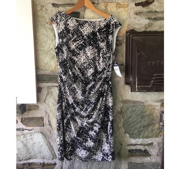 Chaps B/W Patterned Sleeveless Dress NWT, Sz L